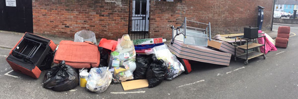 rubbish in a Gloucester street